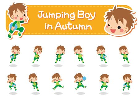 Illustration of a jumping little boy in autumn.