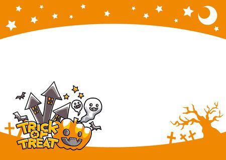 Ilustración del marco de halloween con calabaza.