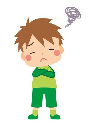 Illustration of little boy is displeasure.