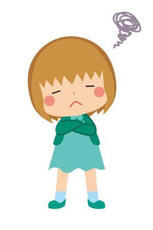 Illustration of little girl is displeasure.