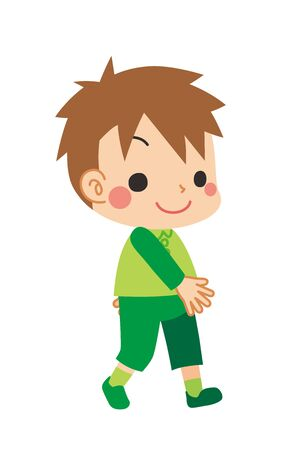 Illustration of walking little boy. Vectores