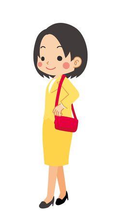 Illustration of walking business woman.