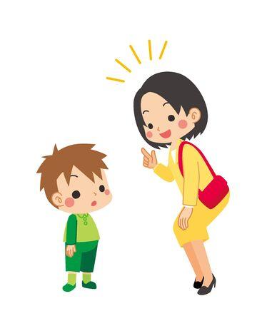 Illustration of little boy listening to a woman talk.