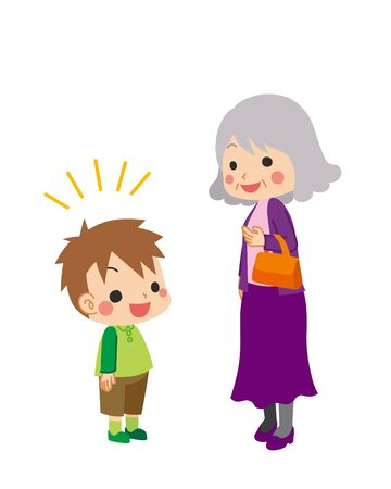 Illustration of little boy and old woman.  イラスト・ベクター素材