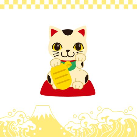 Illustration of items that symbolize the new year in japan.