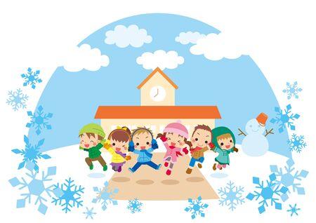 Illustration of kids jumping in winter landscape.