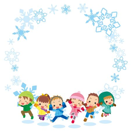 Illustration of children jumping in winter clothes.