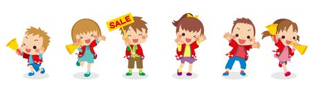 Illustration of children are announcing to sale. Vectores