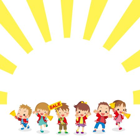 Illustration of children are announcing to sale.