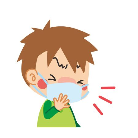 Illustration of boy coughing with a mask.  イラスト・ベクター素材