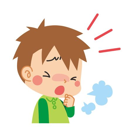 Illustration of  little boy coughing.