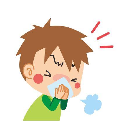 Illustration d'un garçon éternuant couvrant sa bouche avec un chiffon. Vecteurs