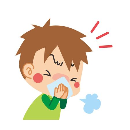 Illustration of a boy sneezing covering his mouth with a cloth.  イラスト・ベクター素材