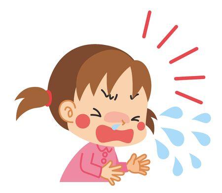 Illustration of little girl sneezing.