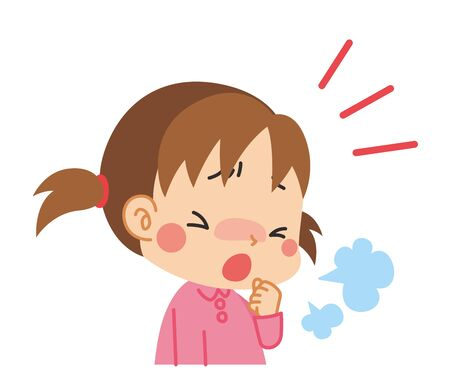 Illustration of  little girl coughing.  イラスト・ベクター素材