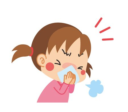 Illustration of a girl sneezing covering her mouth with a cloth.