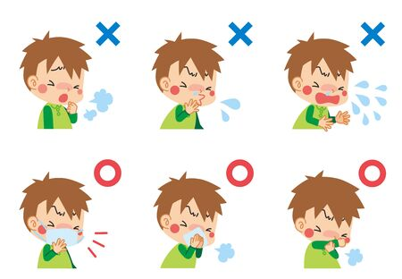 Illustration of child suffering from cold symptoms and child who keeps manners when coughing.