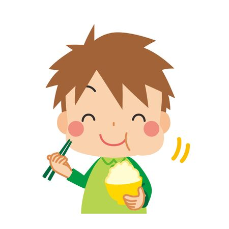 Illustration of little child eating delicious white rice.  イラスト・ベクター素材