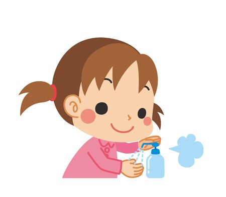 Illustration of little child disinfecting hands with alcohol.