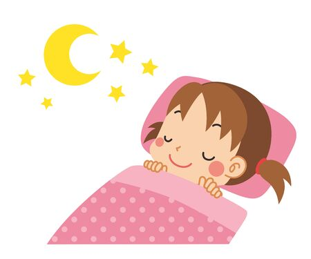 Illustration of little child sleeping soundly.