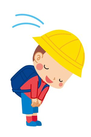 Illustration of cute boy bowing.
