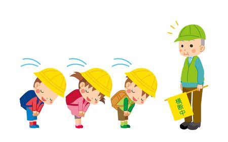 Illustration of cute children bowing. Senior man doing traffic maintenance.