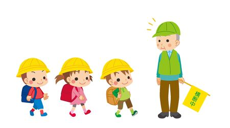 Illustration of cute children walking. Senior man doing traffic maintenance.