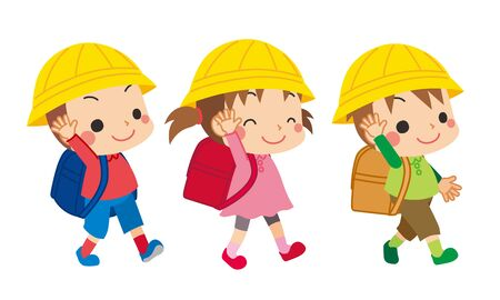 Illustration of elementary school students walking with their hands up.