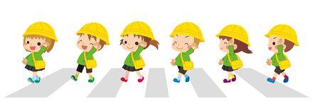 Illustration of kindergarten children crossing pedestrian crossing.