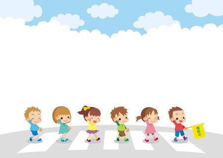 Illustration of cute children crossing the crosswalk.