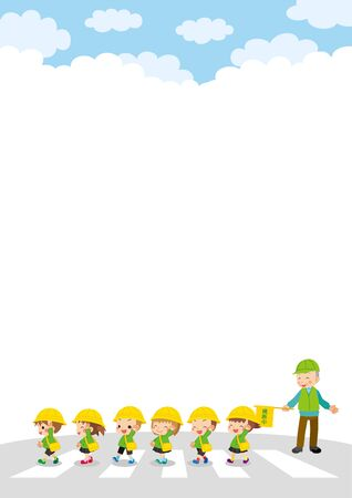 Illustration of kindergarten children crossing pedestrian crossing and senior man at traffic guide.