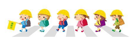 Illustration of cute elementary school children crossing the crosswalk.