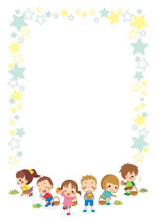 Illustration of cute kids on an egg hunt.