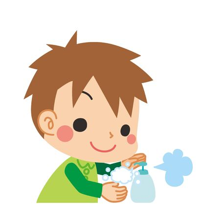 Illustration of a little child washing his hands.