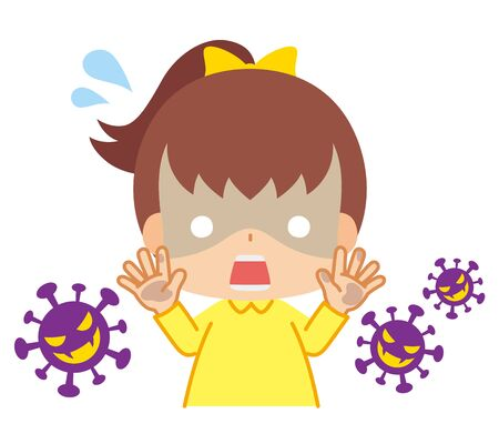 Illustration of girl with dirty hands frightened by virus.
