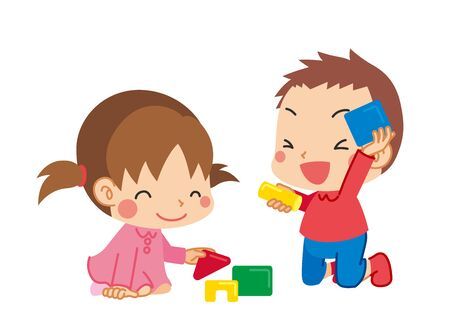 Illustration of cute infants playing with building blocks. Vector Illustration