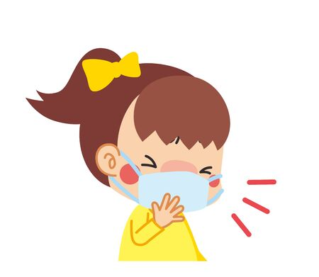 Illustration of child coughing with a mask.