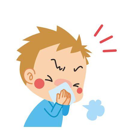 Illustration d'un enfant éternuant couvrant sa bouche avec un chiffon.