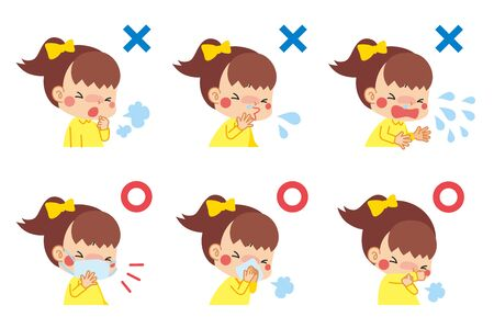 Illustration of child suffering from cold symptoms and child who keeps manners when coughing. Vecteurs