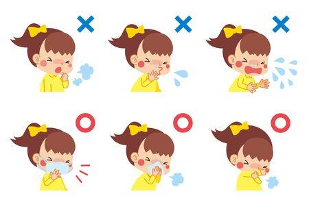 Illustration d'un enfant souffrant de symptômes du rhume et d'un enfant qui garde ses bonnes manières en toussant. Vecteurs