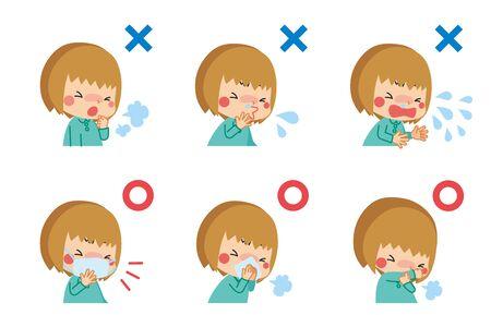 Illustration d'un enfant souffrant de symptômes du rhume et d'un enfant qui garde ses bonnes manières en toussant.