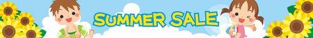Illustration of children enjoying swimming in the sea. Summer sale for Web banner.
