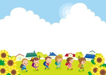 Illustration of cute elementary school, and sunflower blooming summer town landscape in summer.