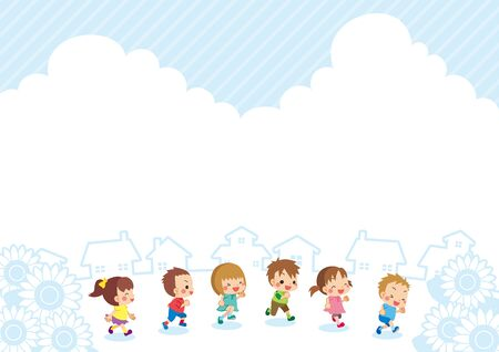 Illustration of cute little kids are running in summer.