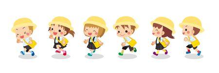 Illustration of cute kindergartener in summer.