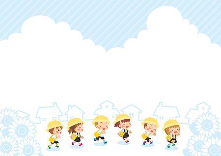 Illustration of cute kindergartener running in summer.