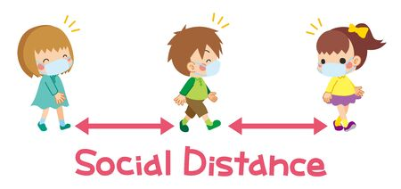 Illustration of children are play take the distance with friends.