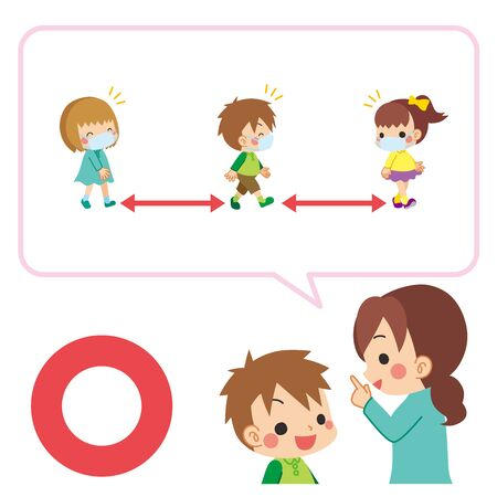 Illustration of a mother explaining to her child about social distance.