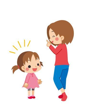 Illustration einer Mutter, die die Frage ihres Kindes beantwortet.