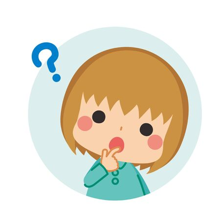 Illustration of a cute child is thinking.